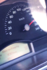 A shot of the speedometer in Jesse Reid's car minutes before he killed Detective Senior Sergeant Victor Kostiuk.