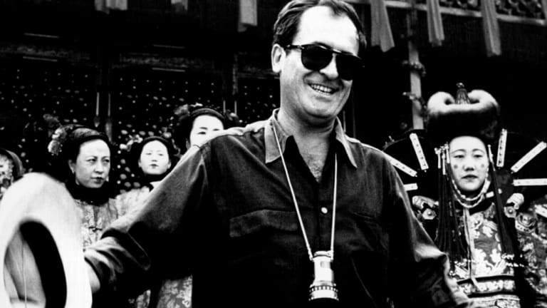 Bernardo Bertolucci during filming of the wedding sequence in The Last Emperor.
