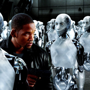 Will Smith battles another pesky AI that thinks it knows best (and a few thousand robots) in the 2004 film <i>I, Robot.