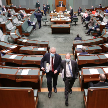 Prime Minister Scott Morrison and Treasurer Josh Frydenberg depart at the end of Question Time on Thursday.