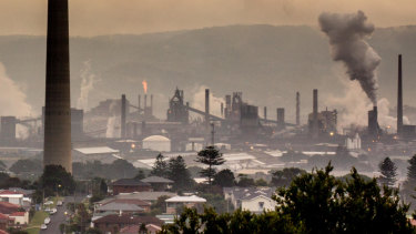 Chimney stacks and smoke in Port Kembla in NSW.