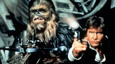 Chewbacca (Peter Mayhew) and Han Solo (Harrison Ford) in The Empire Strikes Back.