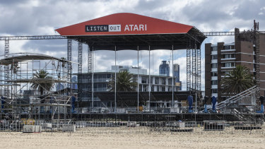 The stage during set-up for Friday's Listen Out festival on St Kilda beach.