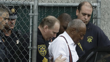 Bill Cosby departs after his sentencing hearing at the Montgomery County Courthouse.