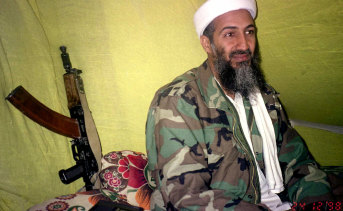 Al-Qaeda leader Osama Bin Laden in mountains of Helmand province in southern Afghanistan in 1998.