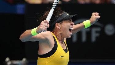 All square: Ajla Tomljanovic celebrates after levelling the Fed Cup tie for Australia with victory over France's Pauline Parmentier.