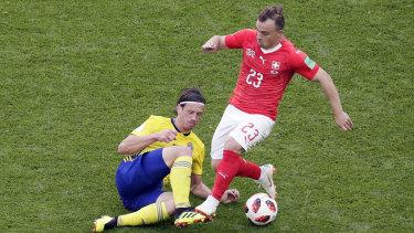 On the move: Switzerland's Xherdan Shaqiri is set for Liverpool.