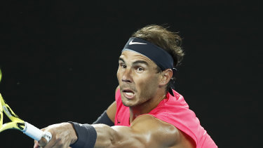 Rafa Nadal reaches out for a shot.