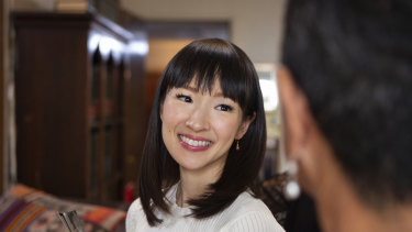 "Japanese decluttering guru Marie Kondo in a scene from her Netflix series ""Tidying Up with Marie Kondo""."