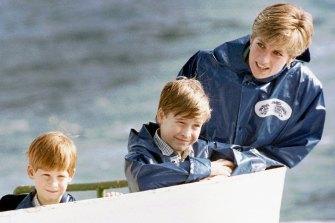 Princess Diana at Niagara Falls with Prince William and Prince Harry.