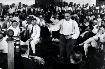 "Clarence Darrow argues for the aquittal of Scopes during the ""monkey trial."""