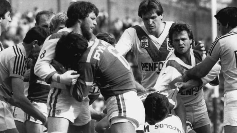 Brawling in the Souths v St George match at the SCG on September 8, 1984.