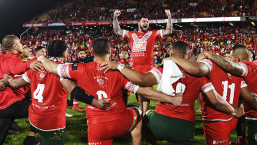 National heritage: Andrew Fifita leads the Tongans in a rendition of the Sipi Tau after their spirited effort against Australia.