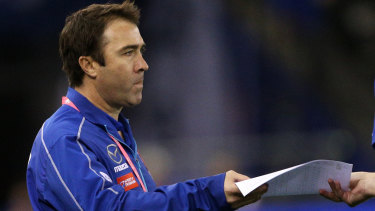 Kangaroos coach Brad Scott during North Melbourne's match against the Western Bulldogs at Marvel Stadium on Saturday.