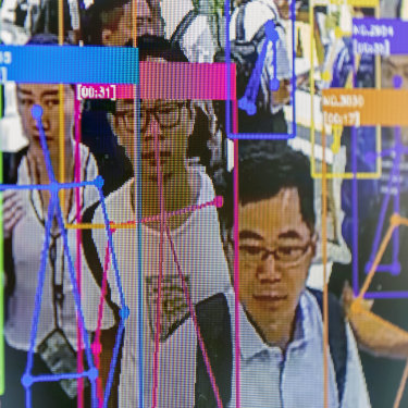 A screen demonstrates facial-recognition technology at the World Artificial Intelligence Conference in Shanghai, China, on Thursday, August 29, 2019.