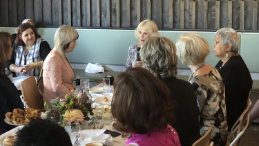 The Duchess of Cornwall, Camilla, speaks during a Women of the World event in Brisbane on Friday.