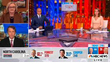 Lester Holt and Savannah Guthrie on NBC's election night coverage in the US.