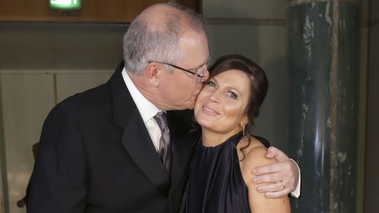 Prime Minister Scott Morrison and Jenny Morrison arrive for the Mid Winter Ball at Parliament House.