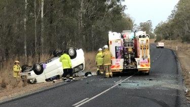 One car rolled on Turkey Beach Road on Saturday afternoon.