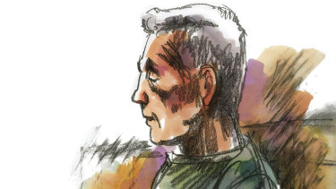 A sketch of Rodney Collins as he appeared in court for an interview application in relation to a 1987 armed robbery.