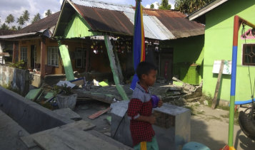 A house in in Donggala, central Sulawesi, Indonesia, on Friday after the initial earthquake hit.