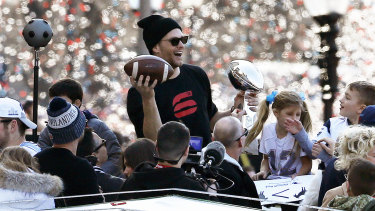 Tom Brady during the Patriots' Super Bowl celebration in downtown Boston earlier this year.