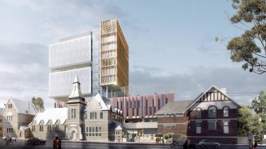 An artists impression of the new Inner Sydney High School in Surry Hills.