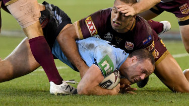 One boot: Boyd Cordner lost his boot for several minutes during the State of Origin match after Ben Hunt threw it out of the field of play.