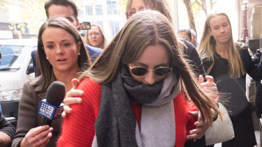 Sarah Ristevski leaves the Supreme Court after her father Borce's sentencing.