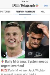 A screenshot from The Daily Telegraph's website which spread over social media before Monday night's Dally M awards.