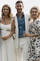 Keating was home for the society wedding Gigi Penna and Matt Langsford, pictured here with Paul Keating's  friend and mother of the bride, the actor Julianne Newbould.