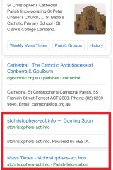 """A screenshot of the Google search """"St Christopher's Cathedral Canberra"""". The third listing, with a URL that reflects the church's title, is a pornography site."""