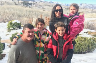 James Packer with his children Indigo, Jackson and Emmanuelle, with their mother and his ex wife Erica at their home in Aspen last year.