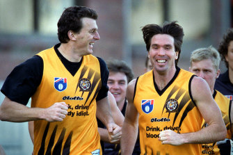 Wayne Campbell and Brendon Gale at a Richmond training session in their playing days.
