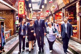 Daniel Andrews, pictured here visiting Chengdu, China, in 2015, could help mend the relationship between Beijing and Canberra, a China expert says.