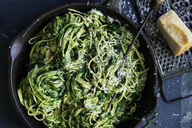 Adam Liaw's vegetarian spring pasta: Spaghetti with zucchini and spinach.