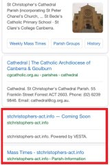 "A screenshot of the Google search ""St Christopher's Cathedral Canberra"". The third listing, with a URL that reflects the church's title, is a pornography site."