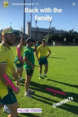 Back together: Stannard posted this image from sevens training in his Instagram stories