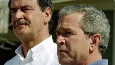 Then Mexican president Vicente Fox, with then US president George W. Bush in 2004.