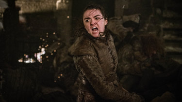 Arya Stark (Maisie Williams) in battle during The Long Night.