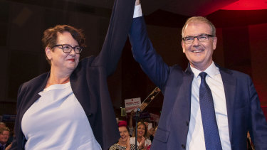 Upper house MLC Penny Sharpe, pictured during the election campaign with then leader Michael Daley, will recontest the deputy leadership role. She has been acting Labor leader since the March state election.