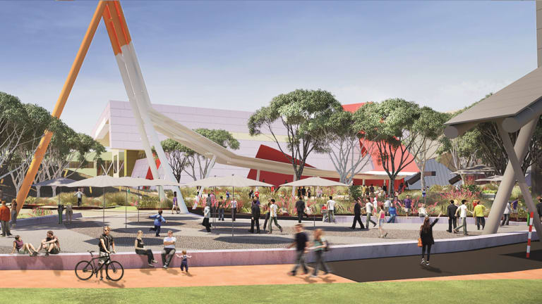 Artists impression of the forecourt event space, from the National Museum of Australia's Master Plan.