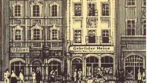 Illustration of Gebrueder Heine shopfront in Leipzig, Germany, circa 1850.