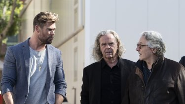 George Miller, right, with Chris Hemsworth and producer Doug Mitchell at the Furiosa announcement at Fox Studios this week.