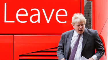 Boris Johnson arrives on the infamous 'Brexit bus' during the 2016 referendum campaign.