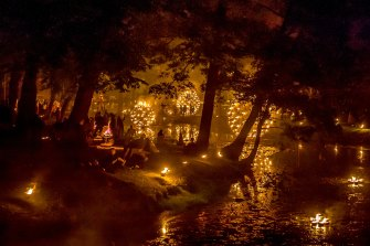 The travelling Fire Gardens event, pictured here in Melbourne's Royal Botanic Gardens, was set to be held in Brisbane in September 2019.