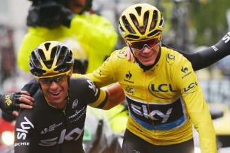 Richie Porte and Chris Froome as teammates at the Tour de France.