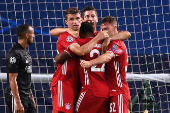 Bayern celebrate as Gnabry scores his second.