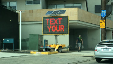 Adam Cruickshank's Terms and Conditions project includes a VMS (variable message sign) outside the gallery.