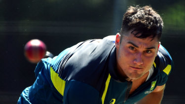 On the fringe: Marcus Stoinis training with the Australian Test squad in Canberra.